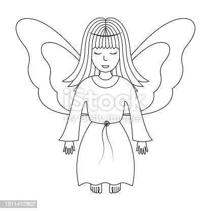 istock Angel. Sketch. Vector illustration. Girl with wings. The fairy lady closed her eyes. The little sorceress is flying. Coloring book for children. Outline on white isolated background. Doodle style. Festive print. 1311412802