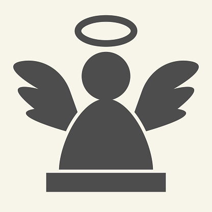 Angel solid icon. Christmas holy angel silhouette glyph style pictogram on white background. New Year decoration signs for mobile concept and web design. Vector graphics.