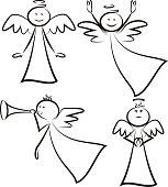 vector outlines of happy angel
