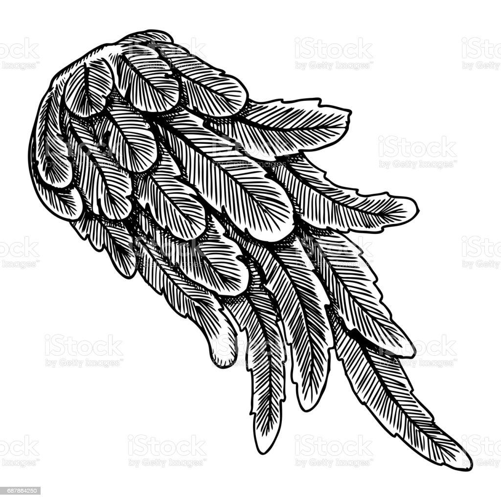 Engel Vleugel Illustratie Op Witte Achtergrond Body Tattoo
