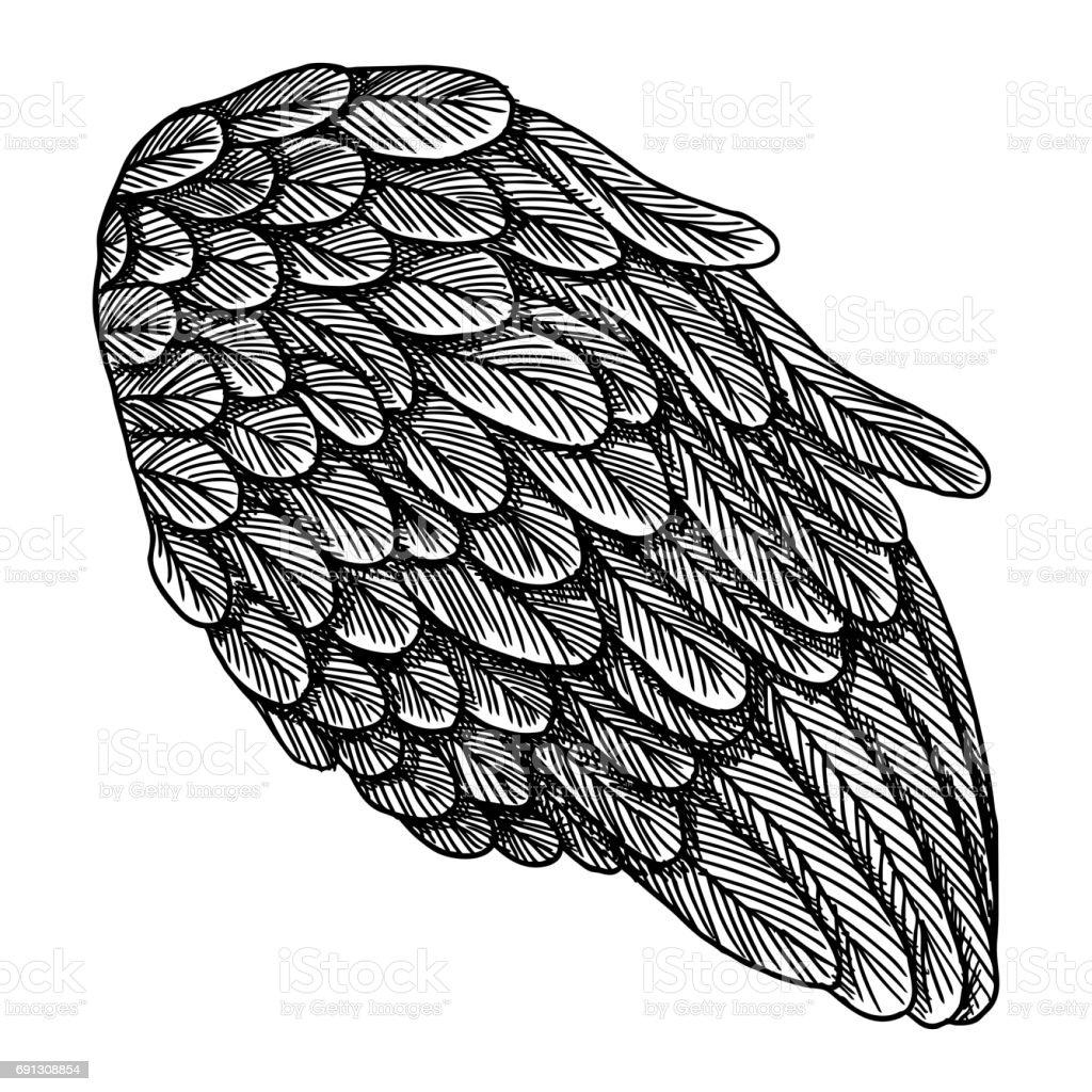 aile dange illustration sur fond blanc body art concept de tatouage