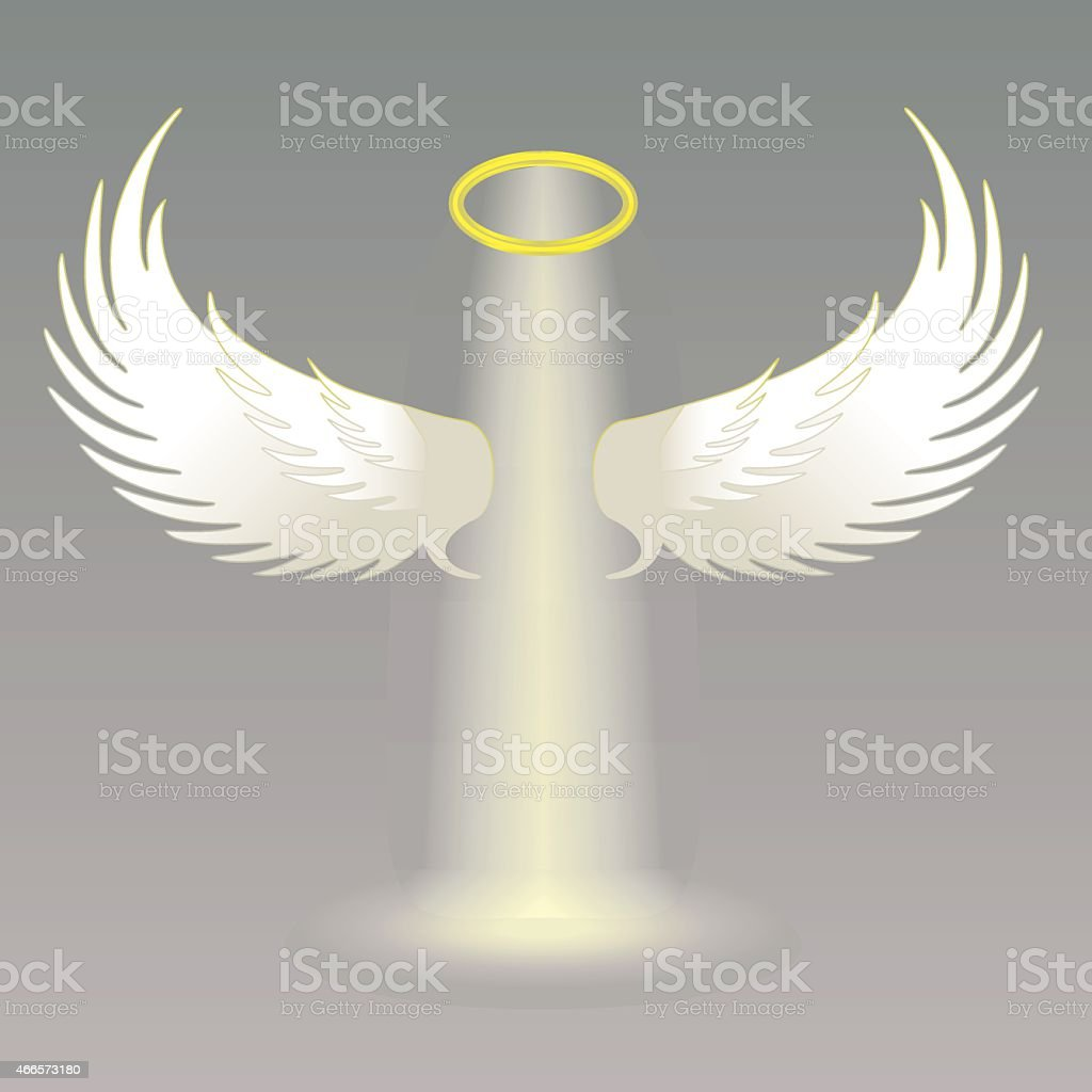 Angel wings and golden halo vector art illustration