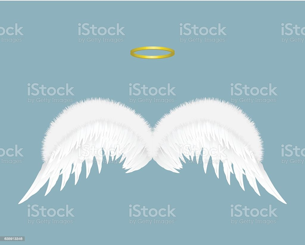 Angel wings and halo isolated on background. Vector illustration. vector art illustration