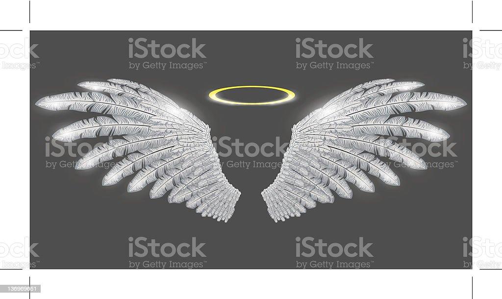 angel wings and nimbus vector art illustration