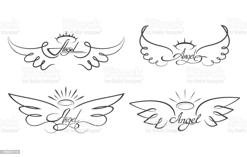 Angel wings drawing vector illustration. Winged angelic tattoo icons vector art illustration