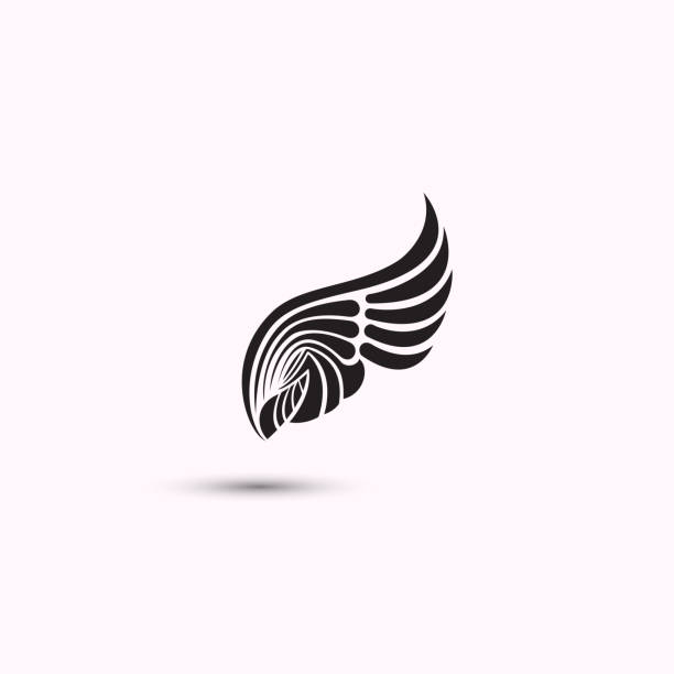 angel wings icon on white background. flat web design wings icon.vector illustration. - angels tattoos stock illustrations, clip art, cartoons, & icons