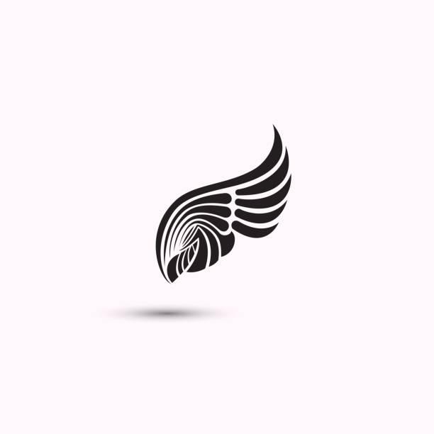 engelsflügel-symbol auf weißem hintergrund. flache web-design-flügel-ikone. vektor-illustration. - engel tattoos stock-grafiken, -clipart, -cartoons und -symbole