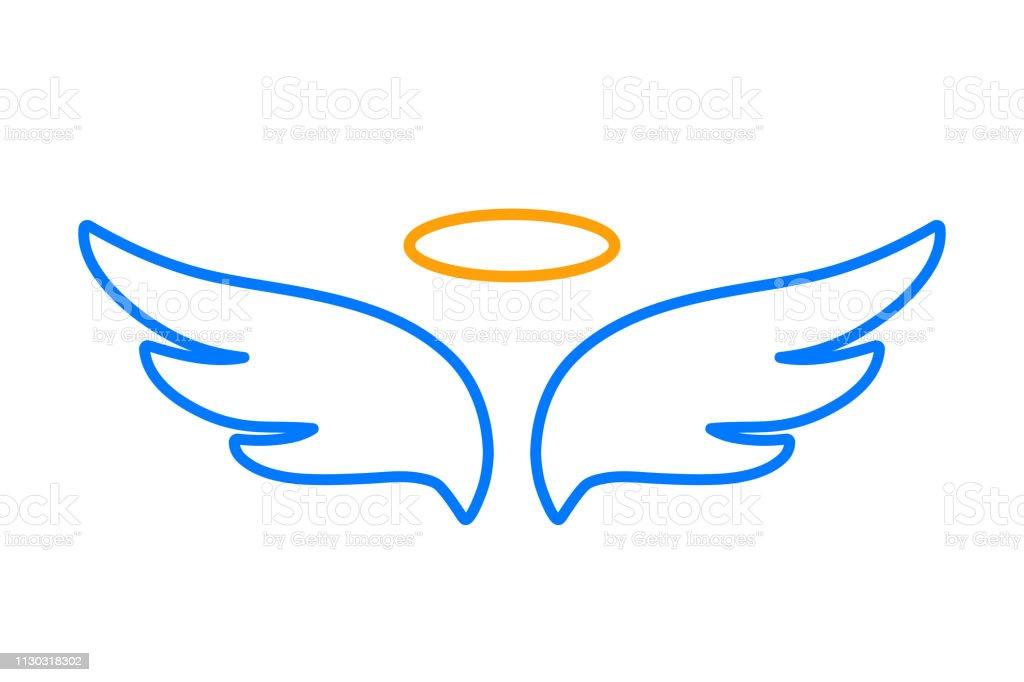 天使の翼とニンバス - ストック アイコン ベクターアートイラスト