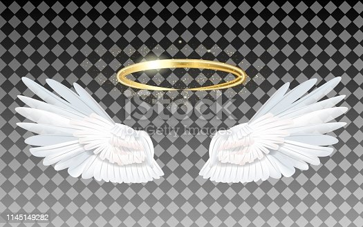 Angel wings icon with nimbus - stock vector