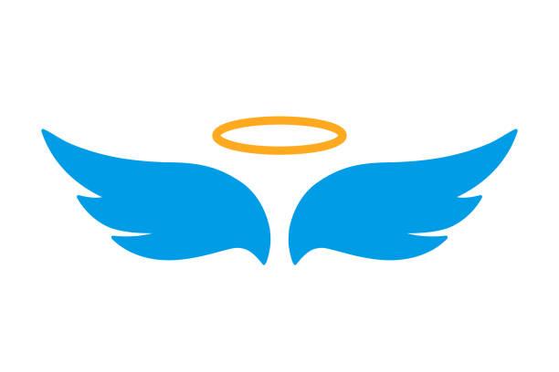 illustrazioni stock, clip art, cartoni animati e icone di tendenza di angel wings icon with nimbus - vector for stock - aureola