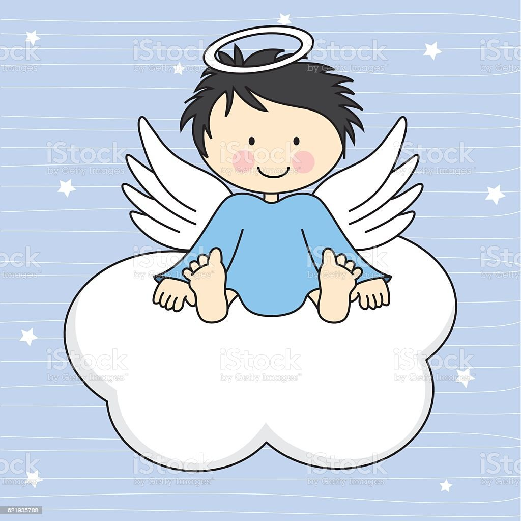 Angel wings on a cloud vector art illustration