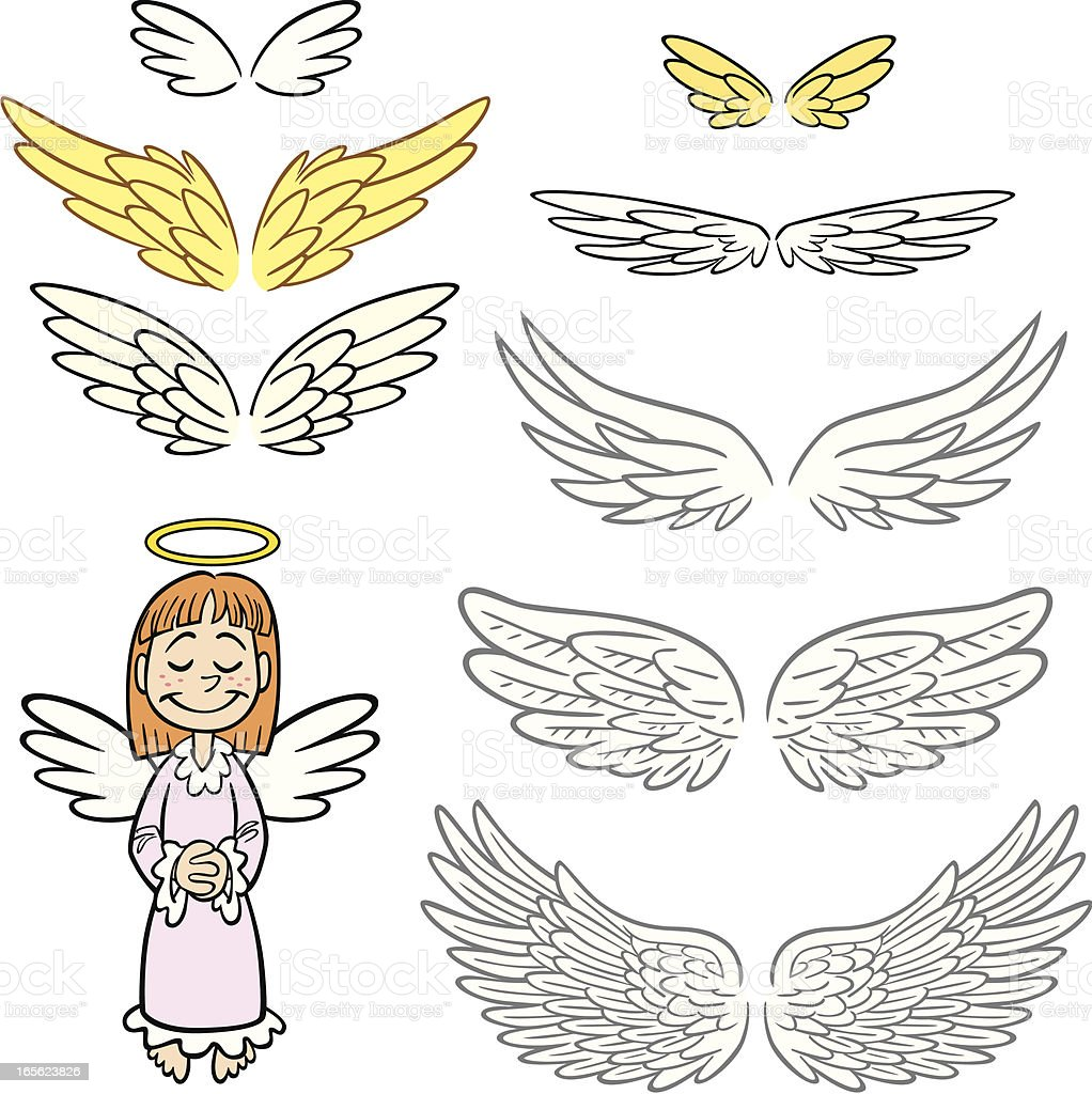 Angel Wings Set vector art illustration