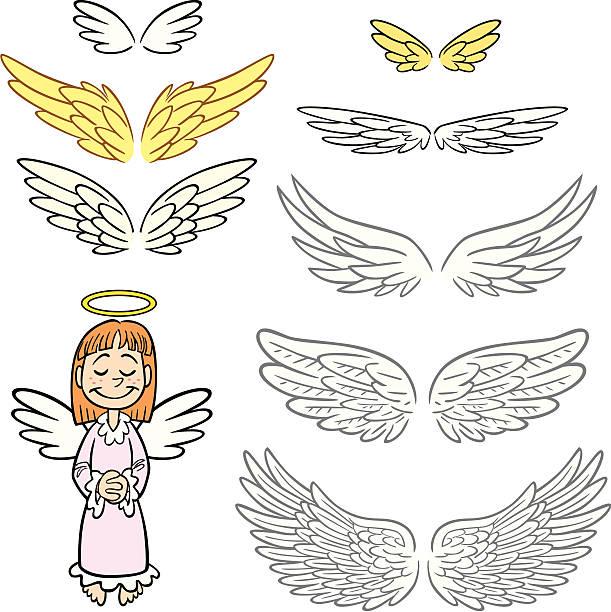 Angel Wings Set vector art illustration