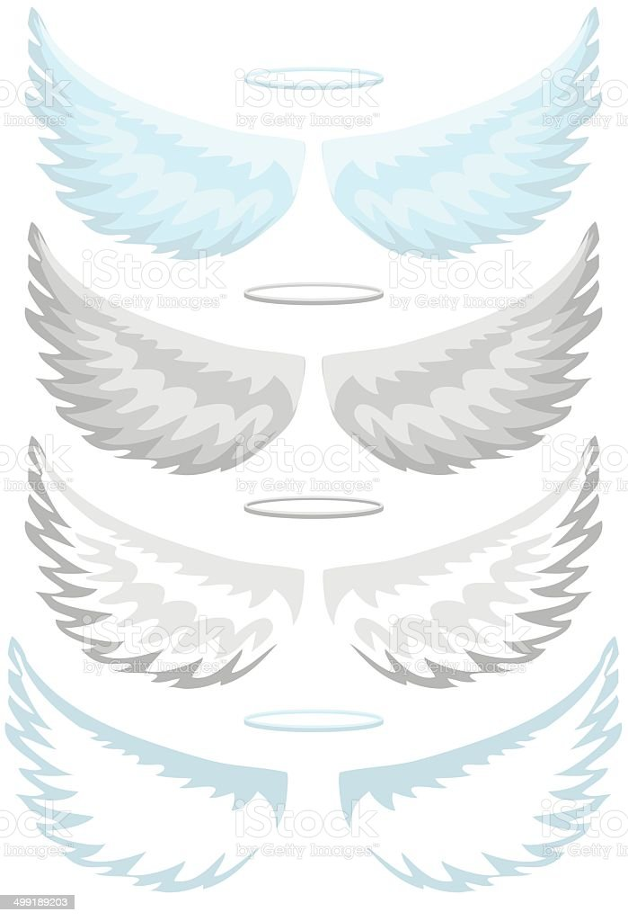 Angel wings, set vector art illustration