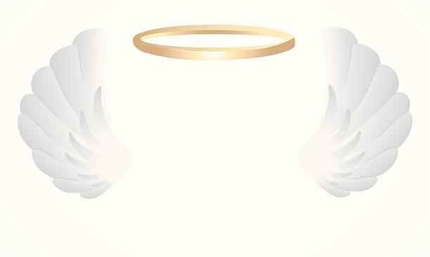 illustrazioni stock, clip art, cartoni animati e icone di tendenza di ali di angelo - aureola