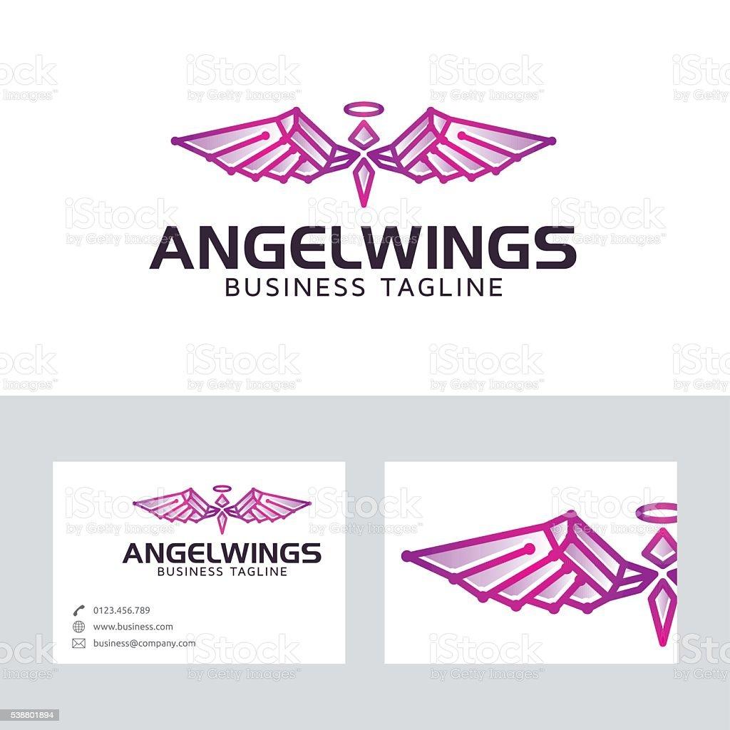 天使の羽名刺テンプレートとベクトルロゴ イラストレーションの