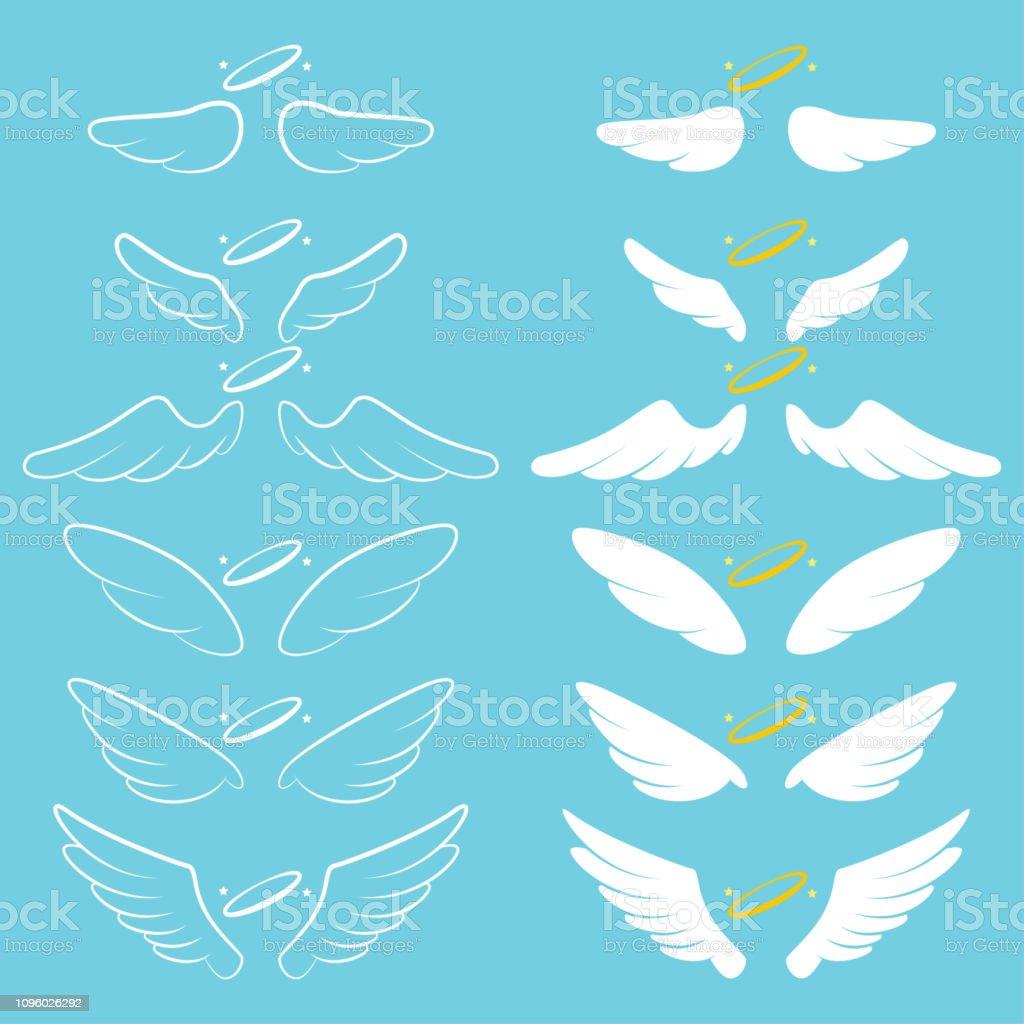 天使の翼ハロー。漫画のベクトル シルエットに孤立した背景を設定します。 ベクターアートイラスト