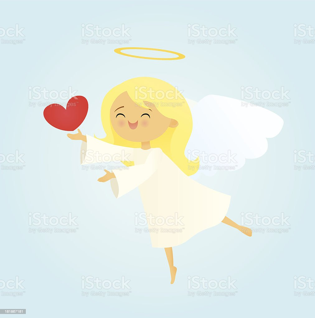 Angel With a Heart vector art illustration