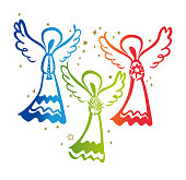 Angel with a trumpet and Angel with a star and Angel with a palm leaf.