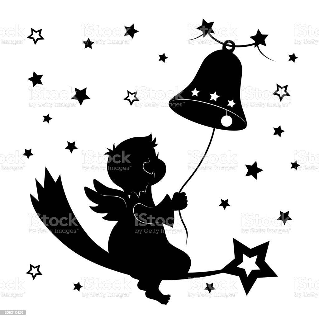 Engel Mit Glocke Und Sterne Weihnachtsdekoration Kontur