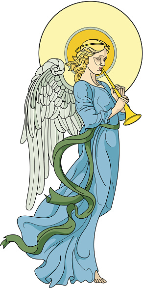 Angel with flute on white background