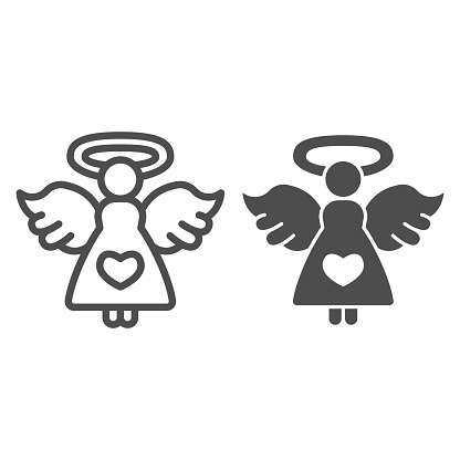 Angel with heart line and solid icon, valentine day concept, Angel of love sign on white background, girl with wings and nimbus icon in outline style for mobile concept,web design. Vector graphics.