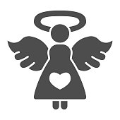 istock Angel with heart solid icon, valentine day concept, Angel of love sign on white background, girl with wings and nimbus icon in glyph style for mobile concept,web design. Vector graphics. 1287528708