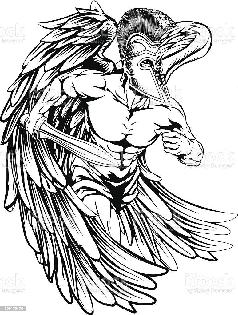 Ángel con espada - ilustración de arte vectorial