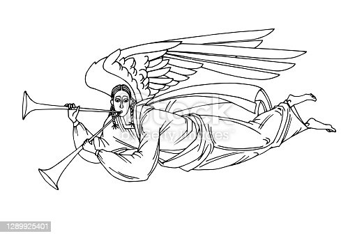 istock angel with trumpet flying on wings, heaven messenger, for christmas and easter cards, posters 1289925401