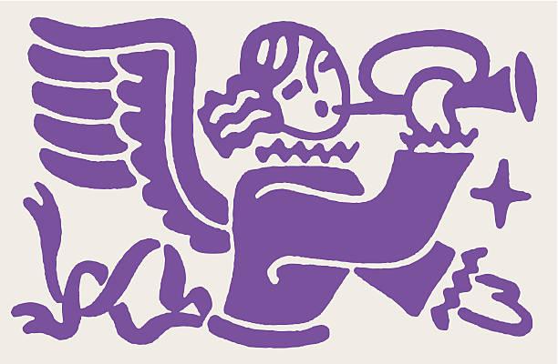 angel mit trompete - fanfare stock-grafiken, -clipart, -cartoons und -symbole