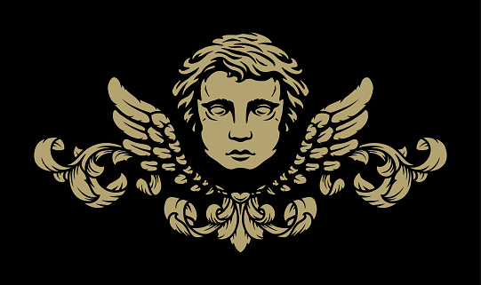 Angel with wings and vintage pattern on a dark background. Vector illustration.