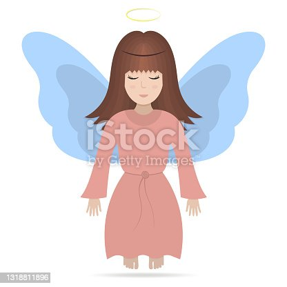istock Angel with wings. Colored vector illustration. A girl with a halo over her head. The fairy lady closed her eyes. The little sorceress is flying. Isolated white background. Flat style. Brunette girl. 1318811896