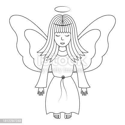 istock Angel with wings. Sketch. Vector illustration. A girl with a halo over her head. The fairy lady closed her eyes. The little sorceress is flying. Coloring book for children. Outline on white isolated background. Doodle style. 1312297233