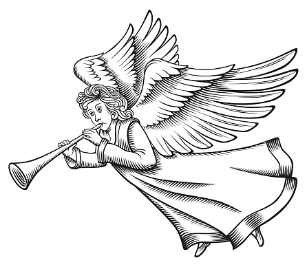 Angel Woodcut