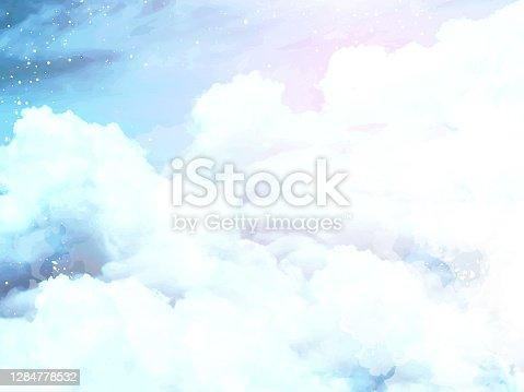istock Angelic heaven clouds vector design background. 1284778532