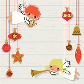 Christmas Card. Christmas-tree decorations and angels.