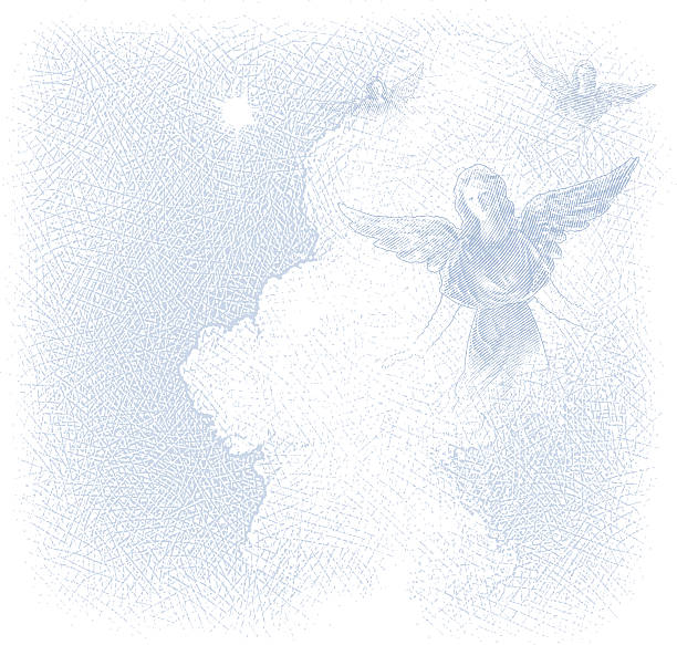 Angels And Cloudscape Background vector art illustration