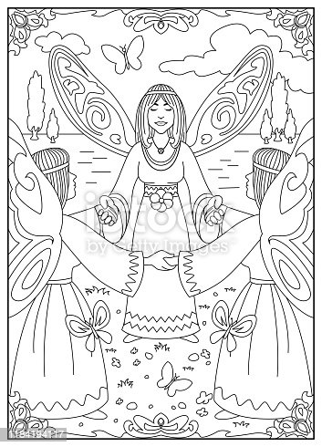 istock Angels and Fairies of Nature Drawings for Colouring 1184194117