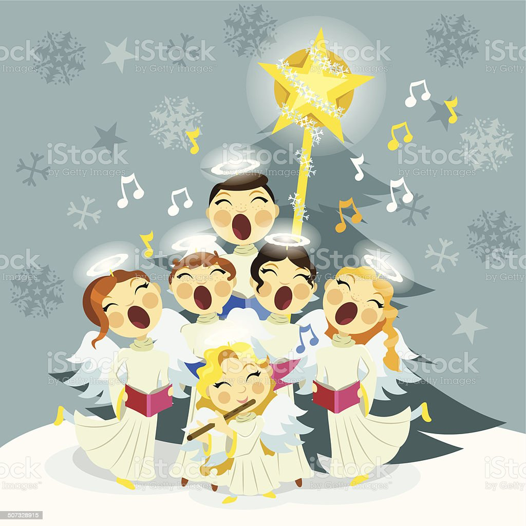 Angels Christmas Choir vector art illustration