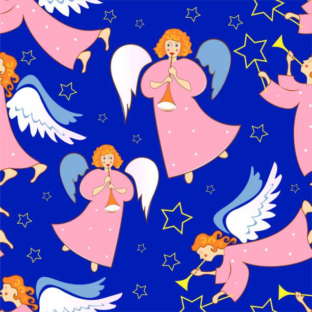 Engel. Weihnachten festlich Musterdesign für Verpackungen, Verpackungen, Urlaub, Stoffe und Leichtindustrie. Vektor-Bild. – Vektorgrafik