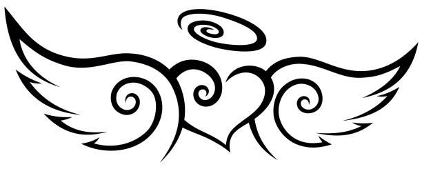 ilustraciones, imágenes clip art, dibujos animados e iconos de stock de corazón de ángeles con alas tatuaje tribal - tatuajes de ángeles