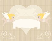 Two sweet little angels hold a love banner