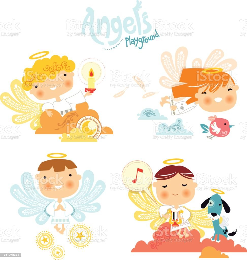 Angel's playground vector art illustration