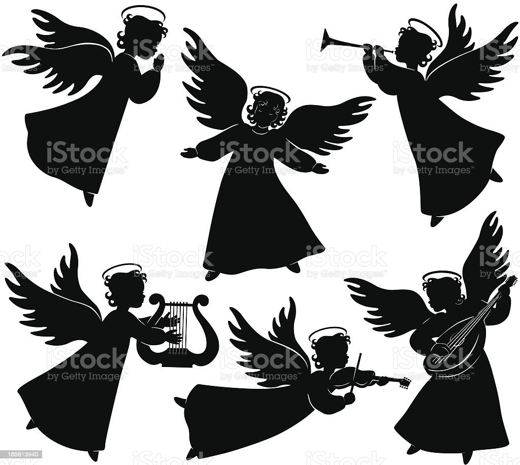 Angels Silhouettes Stock Vector Art Amp More Images Of Angel