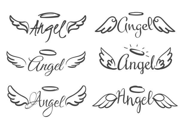 illustrations, cliparts, dessins animés et icônes de emblèmes d'ailes d'anges. plume d'ange aile et halo, croquis plumes oiseau ligne tatouage. dessiné à la main des silhouettes ailées vecteur isolé - aile d'animal