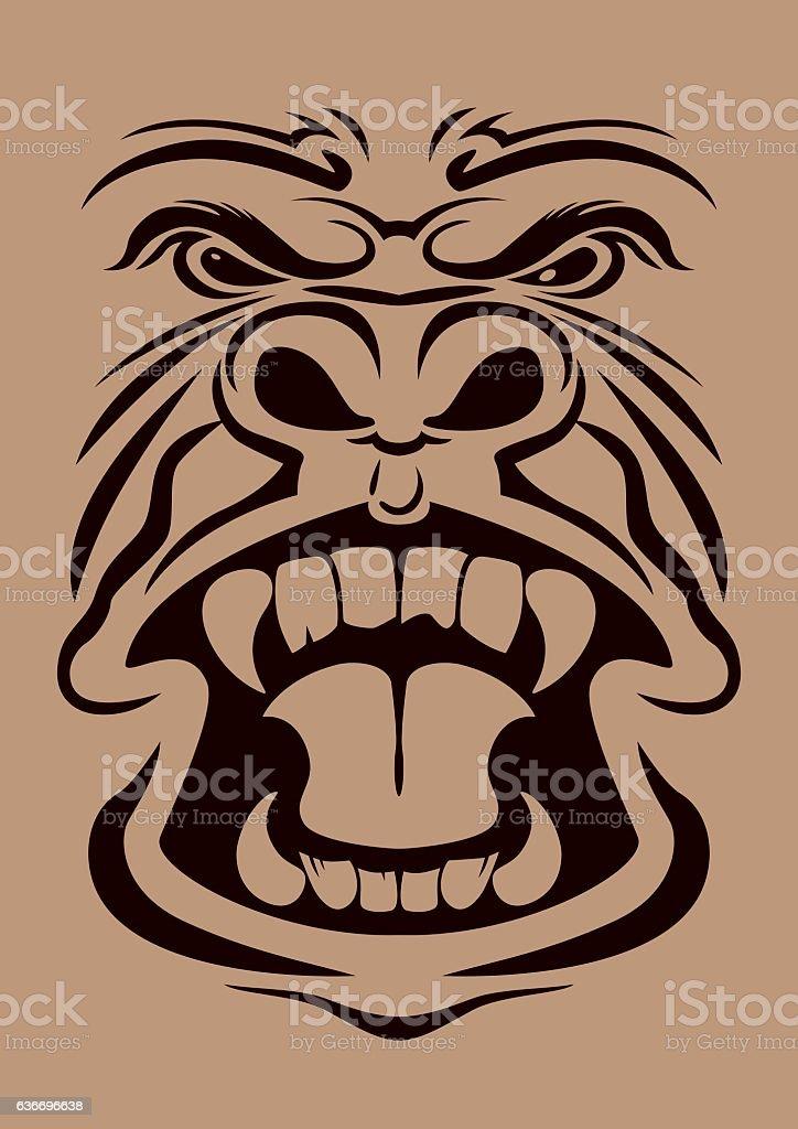 Anger Gorilla Head ベクターアートイラスト