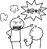 A hand drawn vector doodle illustration of an angry stick figure and yelling bad words.