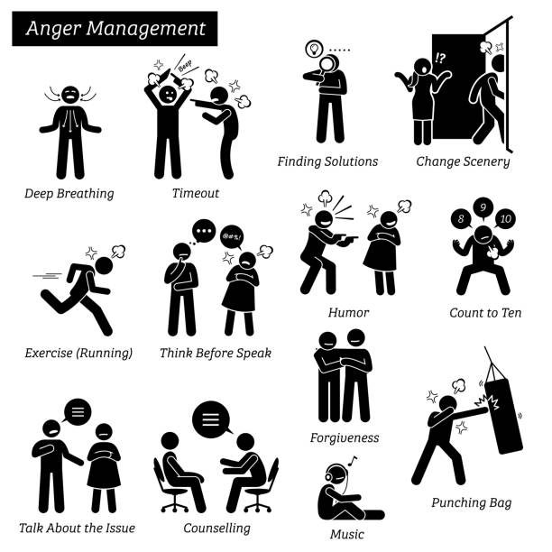 Anger Management Stick Figure Pictogram Icons. vector art illustration