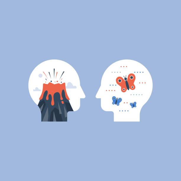 stockillustraties, clipart, cartoons en iconen met woede of kalme vergelijking, mentale stress concept, mood swing, positieve of negatieve emoties - geestelijk welzijn