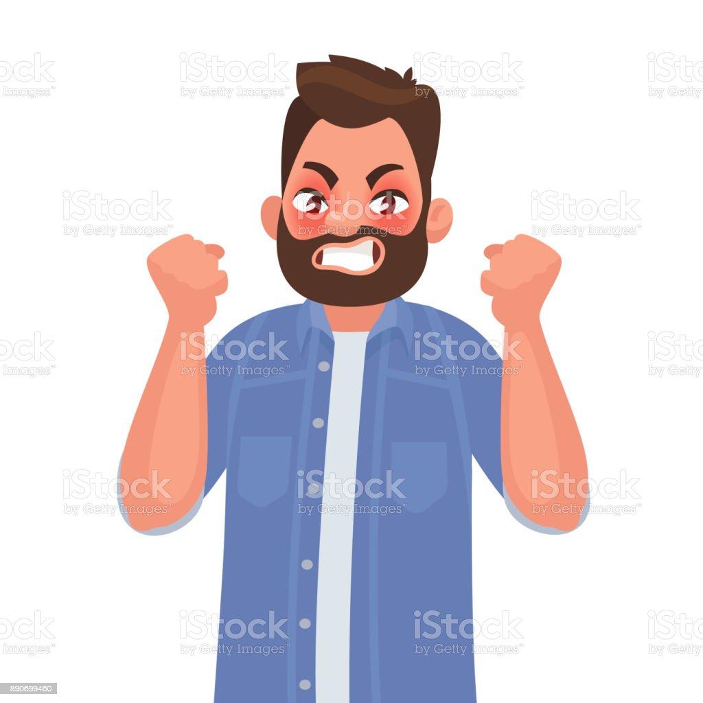 Anger. The evil man expresses his negative emotions. Vector illustration